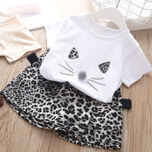 Load image into Gallery viewer, Girls Clothes Set 2019 Summer White Shirt + Leopard Cake Skirt 2 Pieces Necklace Sets  Kid Basic Casula Cotton Clothing Suit