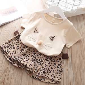 Girls Clothes Set 2019 Summer White Shirt + Leopard Cake Skirt 2 Pieces Necklace Sets  Kid Basic Casula Cotton Clothing Suit
