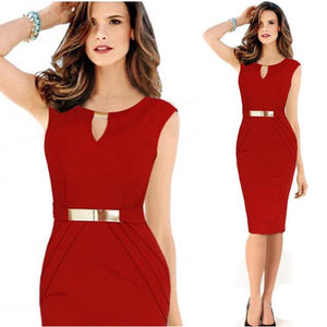 2020 Europe And America WOMEN'S red Dress  Metal Buckle Slim Fit Knee-Length Sleeveless Elegant