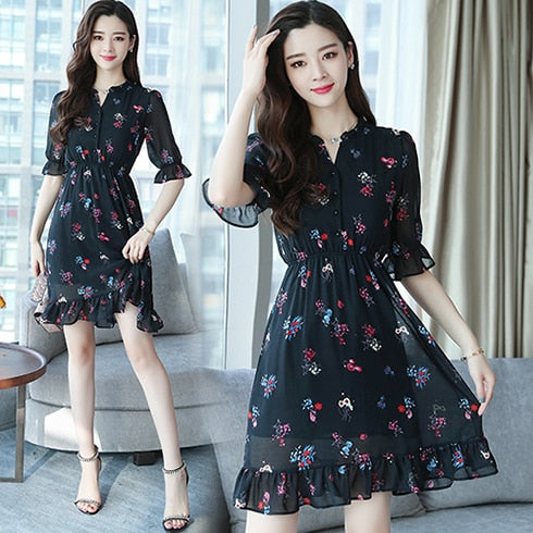 Plus Size Summer Vintage Chiffon Floral Boho Shirt Dress 2020 Korean Elegant Women Party Mini Dresses Casual Sun Beach Vestidos