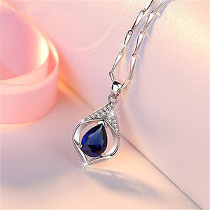 HuiSept Trendy Silver 925 Jewelry Necklace Water Drop Shape Sapphire Zircon Gemstone Pendant Ornaments for Female Wedding Party