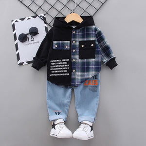 2020 Autumn Children Baby Clothes Kids Boys Girls plaid Patchwork Hoodies Jacket Pants Sets Toddler Clothing Infant Tracksuits
