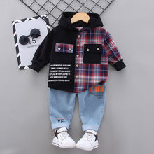Load image into Gallery viewer, 2020 Autumn Children Baby Clothes Kids Boys Girls plaid Patchwork Hoodies Jacket Pants Sets Toddler Clothing Infant Tracksuits