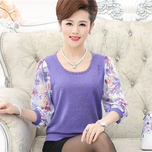 Women's Spring Chiffon Sleeve Shirt Older Women Half Sleeve Flower Print Knitwear Tops Plus Size Mother Pullover Sweater W1172