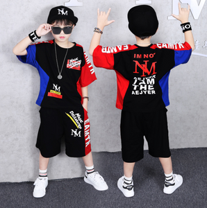 2 Pieces Suit Kids Teenage Boys Clothing Sets Hip-hop Dancing Sports Tracksuits Cotton T-shirt + Shorts Boys Summer Outfits