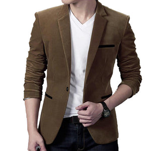 Brand Mens Corduroy Blazers Autumn Spring Fashion Male Slim Fat Casual Suit Jacket Men Blazer Masculino Clothing Vetement Homme