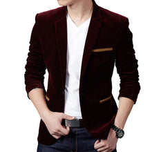 Load image into Gallery viewer, Brand Mens Corduroy Blazers Autumn Spring Fashion Male Slim Fat Casual Suit Jacket Men Blazer Masculino Clothing Vetement Homme