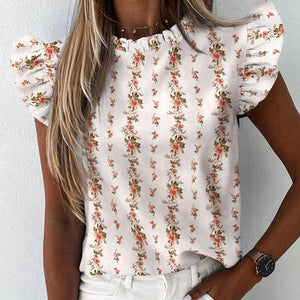 Women Pineapple Floral Print Ruffle Blouse 2020 Summer Butterfly Sleeve Shirt Elegant Office Lady O-Neck Tops Blusa Streetwear