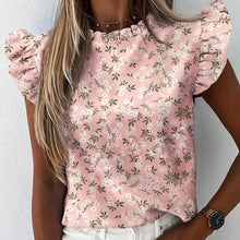 Load image into Gallery viewer, Women Pineapple Floral Print Ruffle Blouse 2020 Summer Butterfly Sleeve Shirt Elegant Office Lady O-Neck Tops Blusa Streetwear