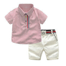 Load image into Gallery viewer, 2020 Boys summer fashion clothing sets kids striped short-sleeved T-shirt + shorts 2 pcs suit gentleman clothes for children