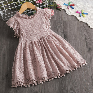 New Arrival Petal Sleeve Girls Spring Summer Dress Flower Wedding Dresses Solid Children Party Costumes Kids Baby Clothing 3 7Y