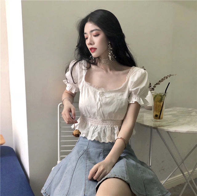 Blouses Women Elegant Lace Retro Summer Short Style Square Collar Ladies Blouse Korean Style All-match Solid Simple Daily Womens