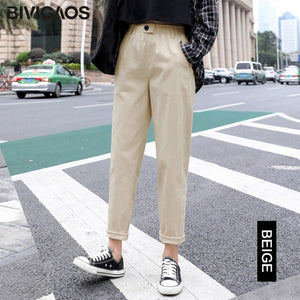 BIVIGAOS New Spring Women Clothing Straight Overalls Casual Harem Pants Korean Elastic Waist Triangle Buckle Cargo Pants Women