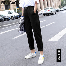 Load image into Gallery viewer, BIVIGAOS New Spring Women Clothing Straight Overalls Casual Harem Pants Korean Elastic Waist Triangle Buckle Cargo Pants Women