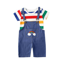 Load image into Gallery viewer, 2PCS Baby Summer Clothing Kids Baby Boy Girl Cotton Clothes Rainbow Colorful T shirt Tops Dungarees Jumpsuit Pants Outfit