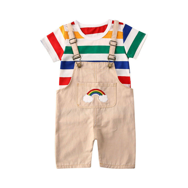 2PCS Baby Summer Clothing Kids Baby Boy Girl Cotton Clothes Rainbow Colorful T shirt Tops Dungarees Jumpsuit Pants Outfit