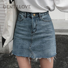 Load image into Gallery viewer, Gentillove Casual High Waist Pencil Denim Skirts Women 2019 Summer Black Blue Solid Pockets Button All-matched Jeans Skirt
