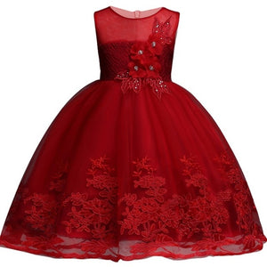 2020 Lace Sequins Formal Evening Wedding Gown Tutu Princess Dress Flower Girls Children Clothing Kids Party For Girl Clothes