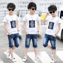 Load image into Gallery viewer, Sport Suits Teenage Summer Boys Clothing Sets Short Sleeve T Shirt & Pants Casual 3 4 5 6 7 8 9 10 12 13 Years Child Boy Clothes