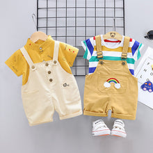 Load image into Gallery viewer, Summer Baby Short Sleeve Clothing Boys and Girls Cotton Tracksuit Striped Top+Overalls For Toddler Children Casual Clothing