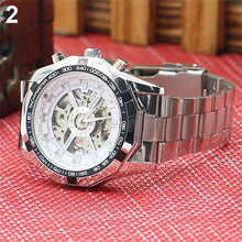 Load image into Gallery viewer, Men's Hollow Skeleton Dial Automatic Mechanical Stainless Steel Band Wrist Watch Mas-culino Fashion Men's Watch Large Dial Milit