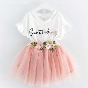 Children Clothing 2020 Summer Toddler Girls Clothes T-shirt+Skirt 2pc Outfit Suit Kids Clothes Tracksuit For Girls Clothing Sets