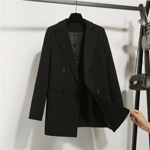 New Fashion Women's Long Sleeves Notched Double Breasted Jacket Korean Loose Casual Black Women Blazers Jackets Work Wear Coat