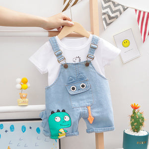 Summer Baby Short Sleeve Clothing Boys and Girls Cotton Tracksuit Striped Top+Overalls For Toddler Children Casual Clothing