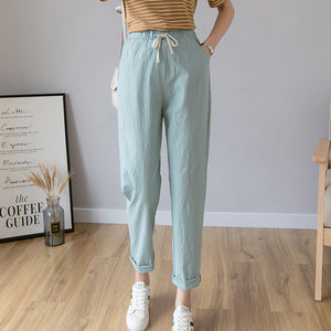 Women Casual Harajuku Long Ankle Length Trousers 2020 Summer Autumn Plus Size Solid Elastic Waist Cotton Linen Pants Black Pants