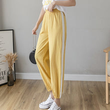 Load image into Gallery viewer, Women Casual Harajuku Long Ankle Length Trousers 2020 Summer Autumn Plus Size Solid Elastic Waist Cotton Linen Pants Black Pants
