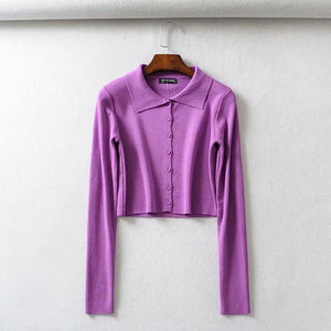 Fall 2020 Knitted Cardigan Button Up Korean Cute Sweaters Cropped Cardigan Women Kawaii Crop Sweater Knitting Top Streetwear