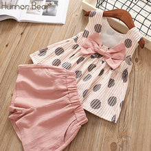 Load image into Gallery viewer, Humor Bear Baby Girls Clothes Sets 2019 Summer Dot flying sleeve top+strap dress+Headband 3-piece kids Children's Clothing Suit