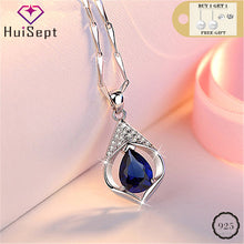 Load image into Gallery viewer, HuiSept Trendy Silver 925 Jewelry Necklace Water Drop Shape Sapphire Zircon Gemstone Pendant Ornaments for Female Wedding Party