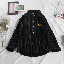 Load image into Gallery viewer, Spring Summer Blouse Women Kawaii Weather Embroidery Ladies Sweet Striped Tops Shirt Korean Loose Blusas Mujer De Moda 2020 New