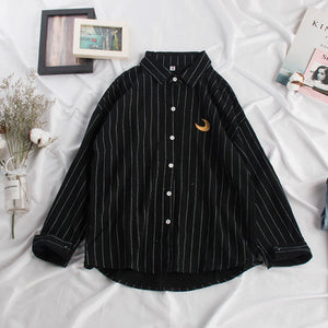 Spring Summer Blouse Women Kawaii Weather Embroidery Ladies Sweet Striped Tops Shirt Korean Loose Blusas Mujer De Moda 2020 New