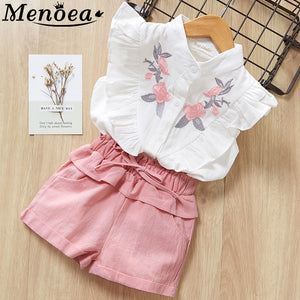 Menoea Girls Suits 2020 Summer Style Kids Beautiful Floral Flower Sleeve Children O-neck Clothing Shorts Suit 2Pcs Clothes