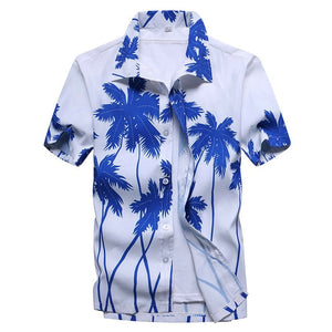 2019 Fashion Mens Short Sleeve Hawaiian Shirt Fast drying Plus Size Asian Size M-5XL Summer Casual Floral Beach Shirts For Men