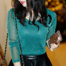 Load image into Gallery viewer, Spring Summer Women's Sexy See Through Mesh Blouse Long Sleeve Transparent Shining Elegant Shirt Fashion Women Tops DF2417