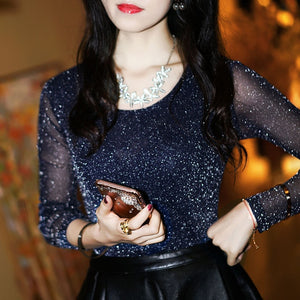 Spring Summer Women's Sexy See Through Mesh Blouse Long Sleeve Transparent Shining Elegant Shirt Fashion Women Tops DF2417
