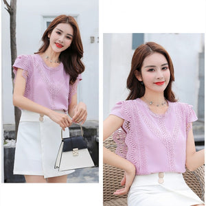 Korean Fashion Clothing Plus Size Solid Shirt Women Blouse Summer 2020 Womens Tops and Blouses Lace Patchwork Blusas 4835 50