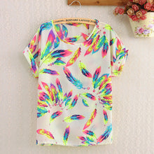 Load image into Gallery viewer, Women Polyester Blouse Stripe Big Dot Blouse Summer Short Sleeve Casual Shirts Thin Print Tops Love Blusas Ladies Shirt