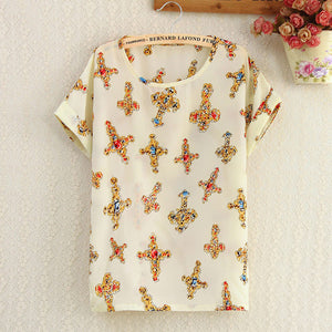 Women Polyester Blouse Stripe Big Dot Blouse Summer Short Sleeve Casual Shirts Thin Print Tops Love Blusas Ladies Shirt