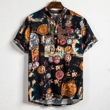 Load image into Gallery viewer, Men Linen Short Sleeve Shirt Summer Floral Loose Baggy Casual Holiday Shirts Tee Tops
