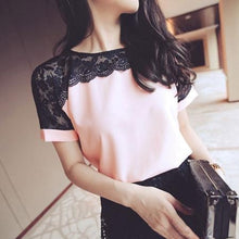 Load image into Gallery viewer, Korean Fashion Chiffon Women Blouses Lace Short Sleeve Pink Women Shirts Plus Size 4XL/5XL Womens Tops Blusas Femininas Elegante