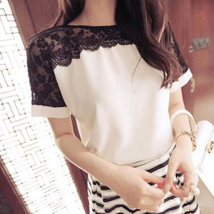 Korean Fashion Chiffon Women Blouses Lace Short Sleeve Pink Women Shirts Plus Size 4XL/5XL Womens Tops Blusas Femininas Elegante