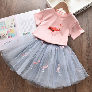 Bear Leader 2020 New Summer Kids Girls Clothes Set Fruit Parrten Short T-shirt +Bow Ball Gown Dress 2pcs Clothing Sets 3-7Y