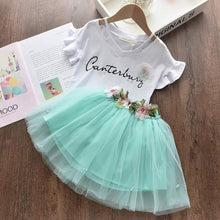 Load image into Gallery viewer, Bear Leader 2020 New Summer Kids Girls Clothes Set Fruit Parrten Short T-shirt +Bow Ball Gown Dress 2pcs Clothing Sets 3-7Y