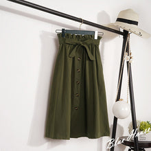 Load image into Gallery viewer, CRRIFLZ Summer Autumn Skirts Womens Midi Knee Length Korean Elegant Button High Waist Skirt Female Pleated School Skirt
