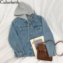 Load image into Gallery viewer, Colorfaith New 2020 Autumn Winter Women Denim Jacket Outerwear Hooded High Street Fashionable Korean Style Jeans Tops JK8303