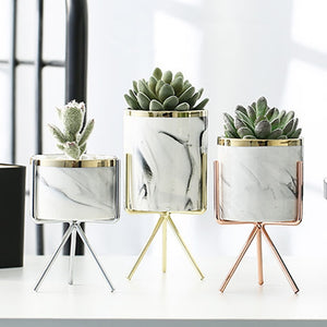 Nordic Ceramic Iron Art Vase Marble Pattern Rose Gold Silver  Tabletop Green Plant Flower Pot Home Office Vases Decorative